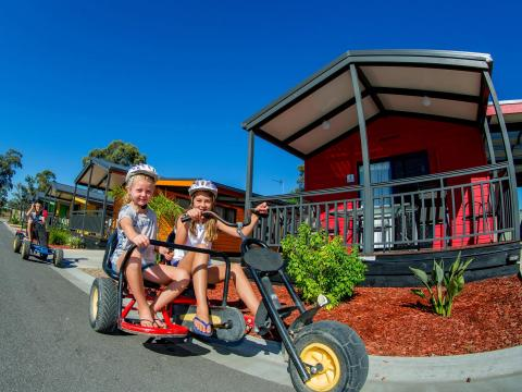 BIG4 Bendigo Park Lane Holiday Park - Pedal Go-Karts - Kids riding together