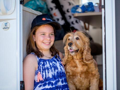 BIG4 Bendigo Park Lane Holiday Park - Girl and pet dog