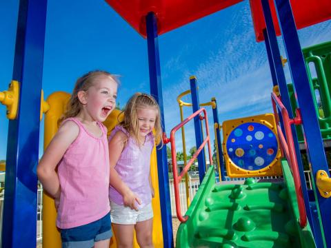 BIG4 Shepparton Park Lane Holiday Park - Outdoor Playground - Girls laughing