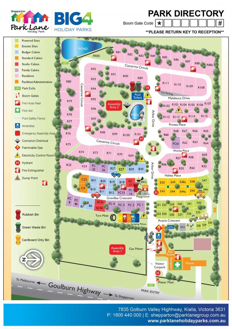BIG4 Shepparton Park Map   BIG4 Shepparton Park Lane Holiday