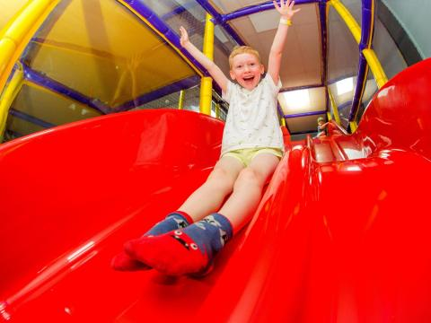 BIG4 Traralgon Park Lane Holiday Park - Parky's Wonderland - Boy on Slide