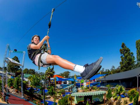 BIG4 Traralgon Park Lane Holiday Park - Adventure Ropes Course - Boy on Flying Fox