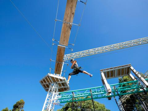 BIG4 Traralgon Park Lane Holiday Park - Adventure Ropes Course - Person leaping to platform