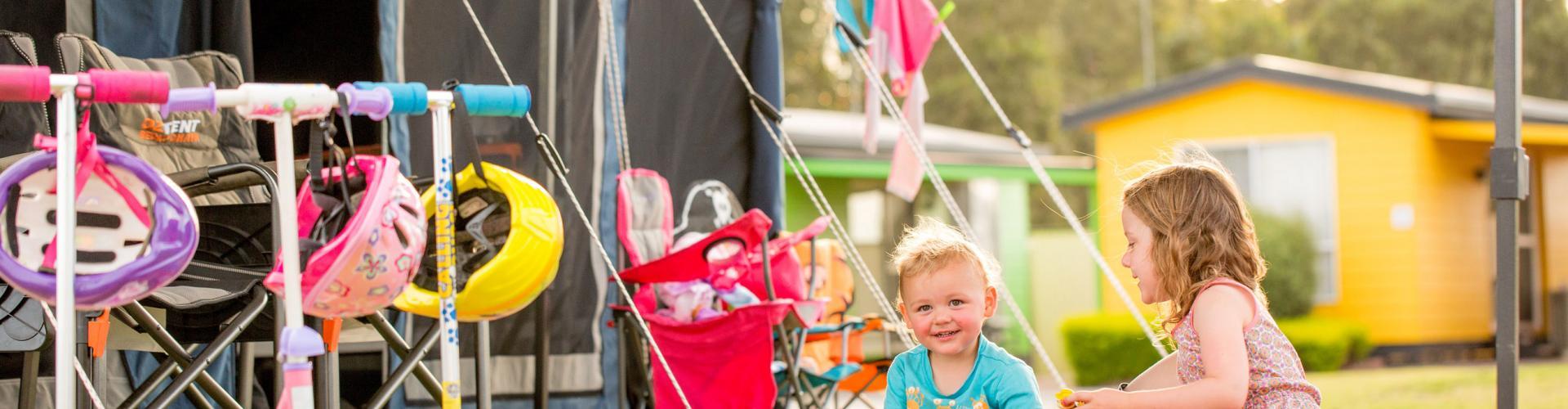 BIG4 Traralgon Park Lane Holiday Park - Kids Camping and playing at tent