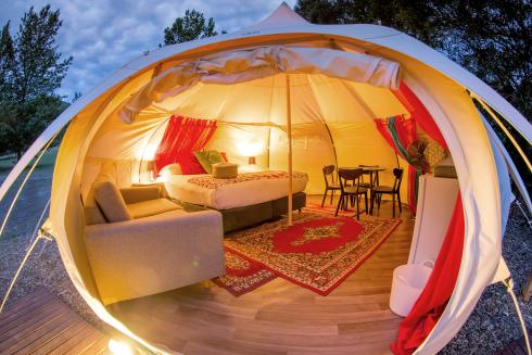 BIG4 Yarra Valley Park Lane Holiday Park - Glamping - Belle Tent - Family - Opening Image - at night