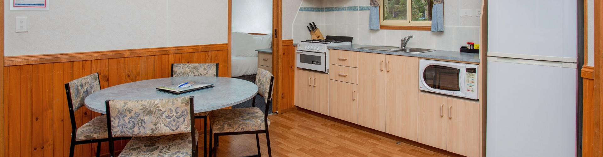 BIG4 Yarra Valley Park Lane Holiday Park - Parkside Cabin - 2 Bedroom - Dining and Kitchen